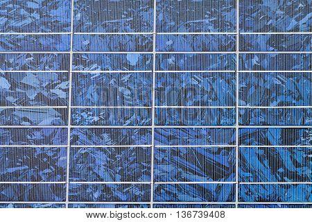 Blue solar panel close up modern technology