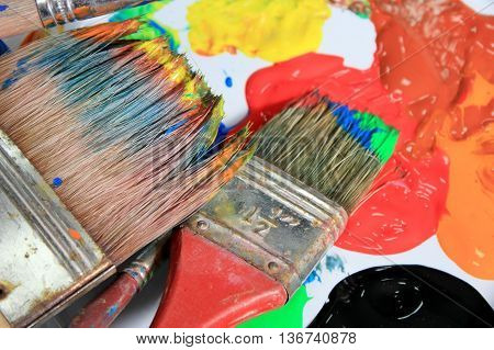 Flat Brushes and paints - close up