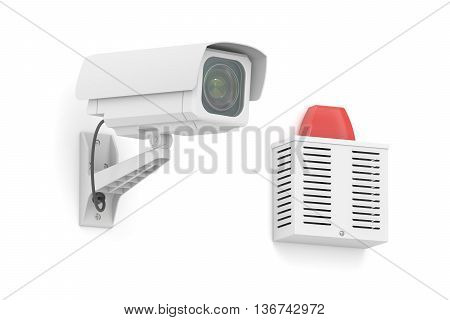 Security surveillance camera with outdoor alarm siren 3D rendering isolated on white background
