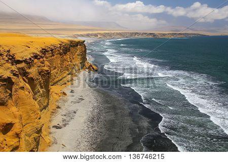 Supay Beach In Paracas National Reserve, Peru.