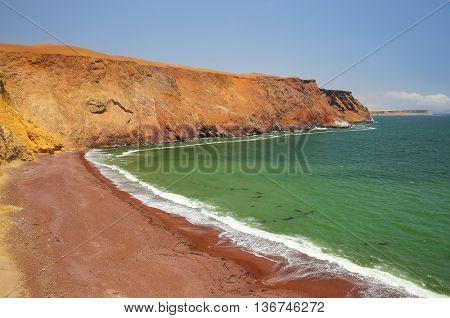 Roja Beach In Paracas National Reserve, Peru.