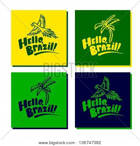 Set of four greeting Brazil card concepts with