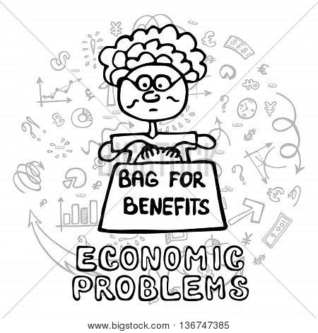 Concept of economic problem such as population aging a large number of pensions and benefits. Doodle hand drawn style vector illustration. Granny with a big bag.