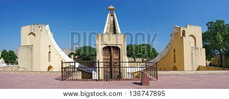 Ancient astronomical observatory Jantar Mantar in Jaipur Rajasthan India