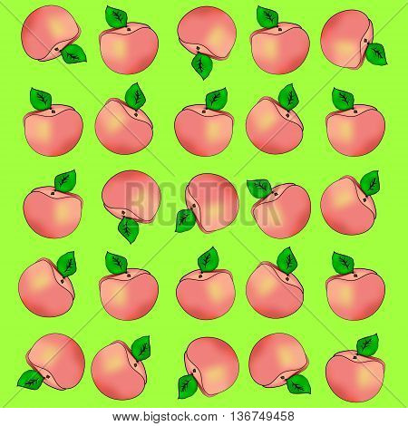 Background of peaches. Peaches apricots on a green background.