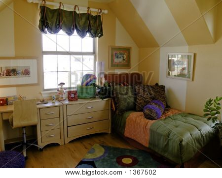 Kid's bedroom with stripped walls