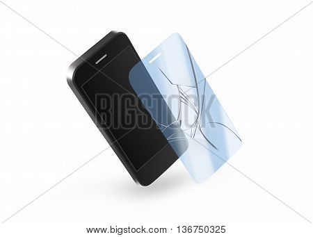 Phone broken protection glass with screen 3d illustration. Smartphone display protector crack. Mock up protected from damage protective film. Safety clear insure from scratch. Protect from crash presentation.