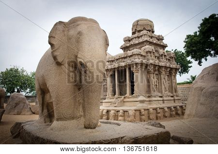 Five Rathas Complex With  In Mamallapuram, Tamil Nadu, India