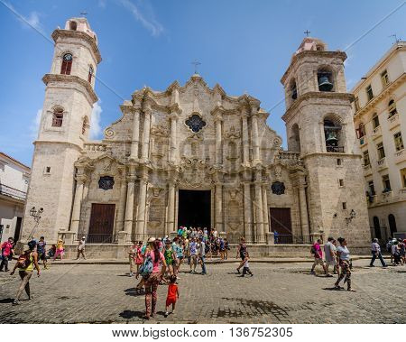 HAVANA - CUBA JUNE 13, 2016: The Cathedral of the Virgin Mary of the Immaculate Conception in the Cathedral Plaza is a popular tourist destination. The Cathedral was completed in 1777 and is one of the best examples of Baroque architecture in the country.