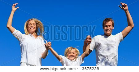 Young Family Playing in the garden