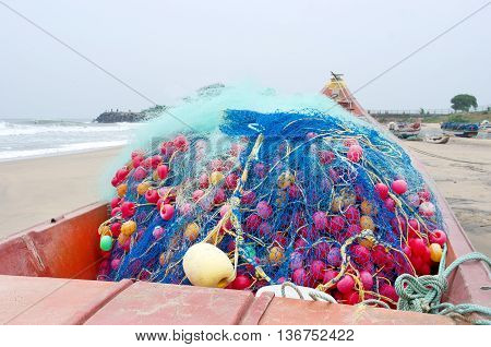 Fishing boats beached along the coast in Mamallapuram Tamil Nadu India