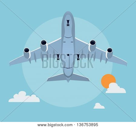 Flat airplane illustration, view of a plane taking off from below