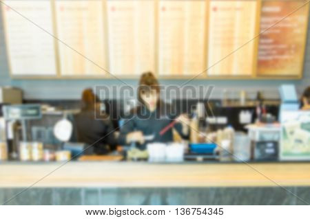 Blur image of coffee shop, abstract  bacground