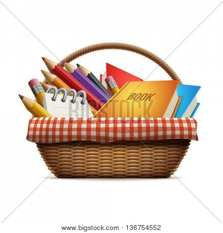 School supplies in wicker picnic basket. Detailed vector illustration.