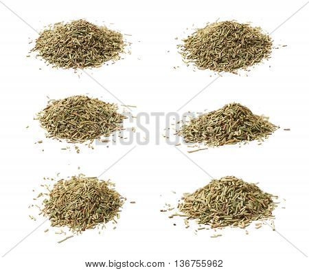 Pile of dried rosmarinus seasoning isolated over the white background, set of six different foreshortenings