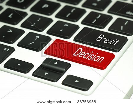 Brexit concept on red keyboard button. Financial concept
