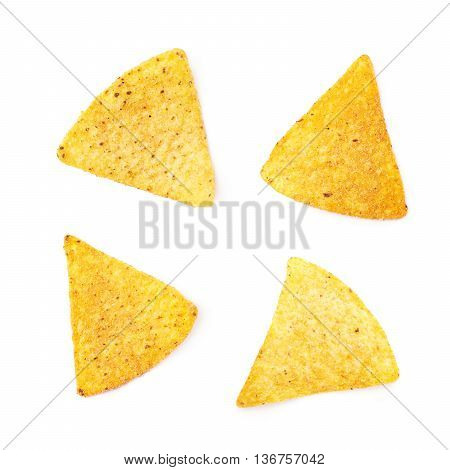 Single yellow corn tortilla chip isolated over the white background, set of four different foreshortenings