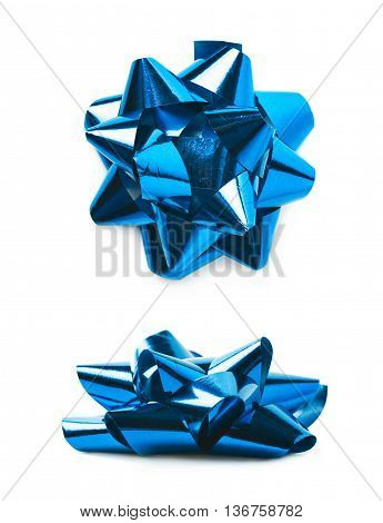 Decorational bow made of glossy blue tape, composition isolated over the white background, set of two different foreshortenings