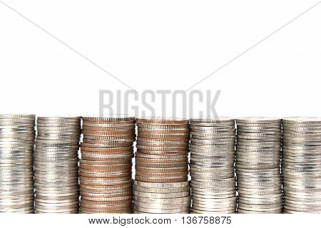 Close up shot of stack of conis on white background