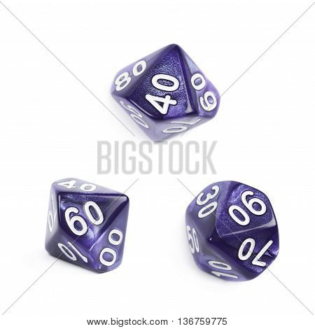 Violet roleplaying polyhedral heptagonal trapezohedron gaming plastic dice isolated over the white background, set of three different foreshortenings