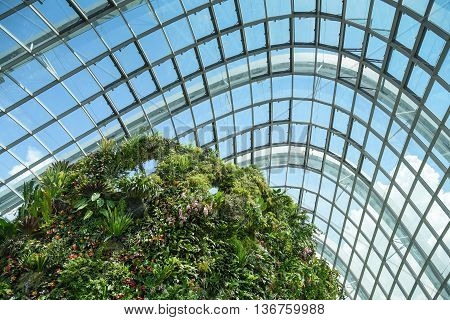 SINGAPORE - MAY 7 2016 : Cloud Forest dome at Garden by the bay Singapore.