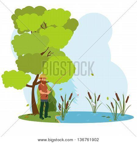 fisherman in waders fishing the bait. a fisherman on the lake fishing.
