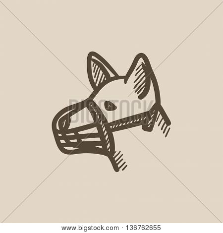Dog with muzzle vector sketch icon isolated on background. Hand drawn Dog with muzzle icon. Dog with muzzle sketch icon for infographic, website or app. poster