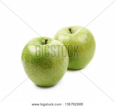 Composition of multiple ripe and green granny Smith apples isolated over the white background