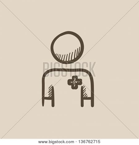 Nurse vector sketch icon isolated on background. Hand drawn Nurse icon. Nurse sketch icon for infographic, website or app.