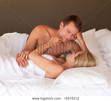 Young couple relaxing with each other