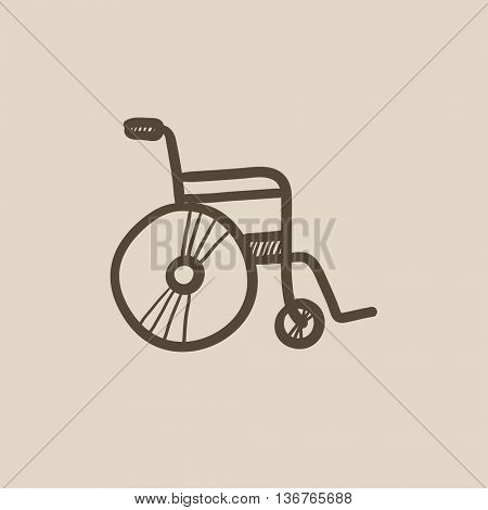 Wheelchair vector sketch icon isolated on background. Hand drawn Wheelchair icon. Wheelchair sketch icon for infographic, website or app.