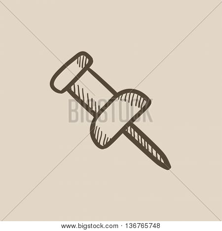 Pushpin vector sketch icon isolated on background. Hand drawn Pushpin icon. Pushpin sketch icon for infographic, website or app.
