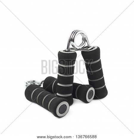 Composition of two black carpal expander training devices isolated over the white background