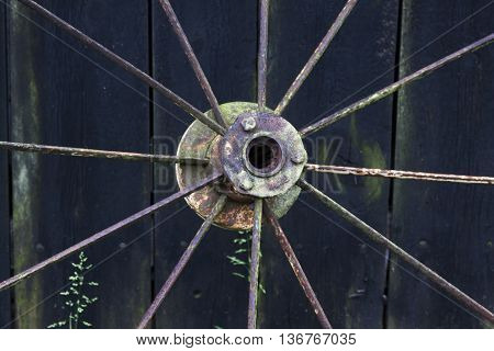 spokes from the hub of a rusty wheel