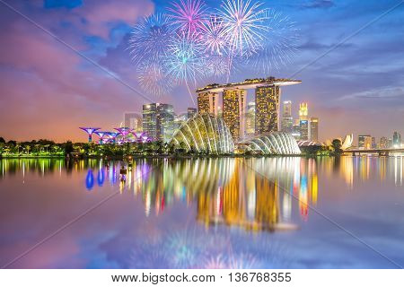 The Singapore national day fireworks celebration by Marina Bay.