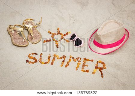 Shape Of Sun And Word Summer, Accessories For Vacation On Sand At Beach, Sun Protection, Summer Time