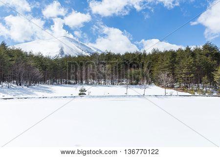 Winter landscape in Asama yama of Japan