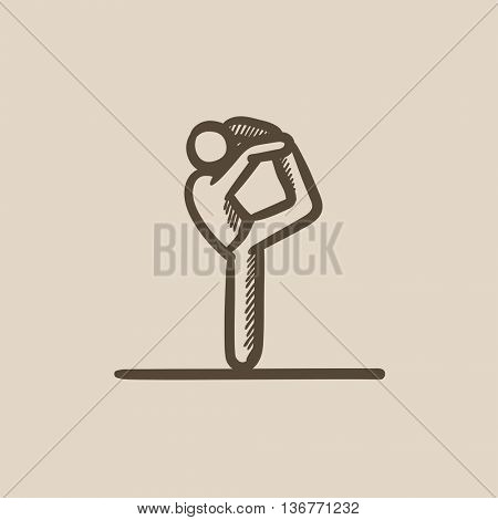 Man practicing yoga vector sketch icon isolated on background. Hand drawn Man practicing yoga icon. Man practicing yoga sketch icon for infographic, website or app.