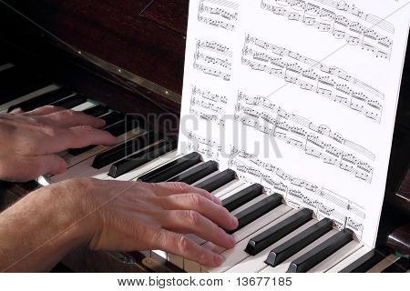 Senior learning to play piano