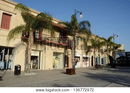 LARNACA CYPRUS - APRIL 7 2016: Streets of an old town.Larnaca - city on southern coast of Cyprus and capital of the eponymous district. It is the third-largest city in the country after Nicosia and Limassol