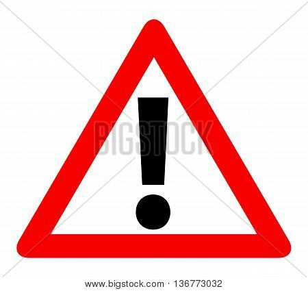Red Triangle Warning Alert Sign Vector Illustration.