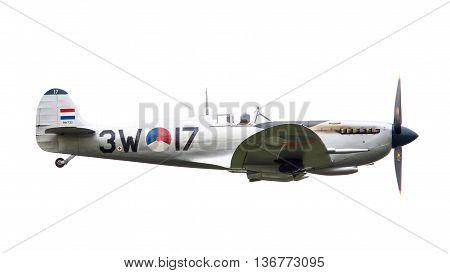 Leeuwarden, The Netherlands - June 11, 2016: A Vintage Spitfire Fighter Plane Makes A Low Flypast Fo