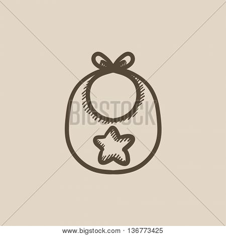 Baby bib vector sketch icon isolated on background. Hand drawn Baby bib icon. Baby bib sketch icon for infographic, website or app.
