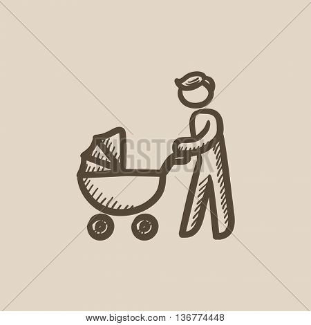 Man walking with baby stroller vector sketch icon isolated on background. Hand drawn Man walking with baby stroller icon. Man walking with baby stroller sketch icon for infographic, website or app.