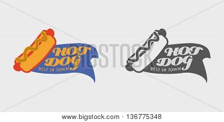 Vector Hotdog Logo And Badges Template Or Concepts For Your Design. Monochrome And Color