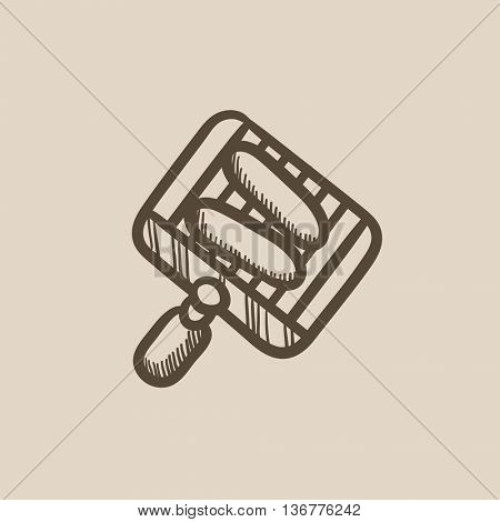 Grilled sausages on grate for barbecue vector sketch icon isolated on background. Hand drawn Grilled sausages on grate for barbecue icon. Grilled sausages sketch icon for infographic, website or app.