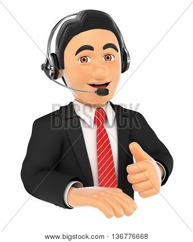 3d business people illustration. Call center employee with thumb up. Isolated white background.