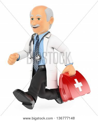 3d medical people illustration. Doctor running to a emergency. Isolated white background.