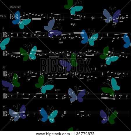 Musical bandana print with butterflies. Kerchief seamless pattern design for print on fabric. Vector illustration.