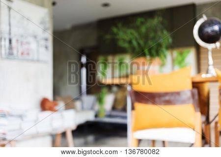 Image Blur Background, Living Room Interior Decoration Cafe Coffee With Wooden Bar And Chair Barstoo